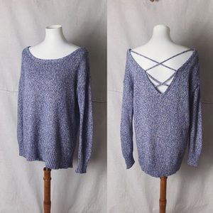 AEO Strappy Back Speckled Purple Sweater